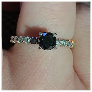 14k rose gold black and white diamond ring